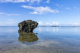 透き通った海と水平線が広がる星砂の浜の写真素材 [FYI04676908]