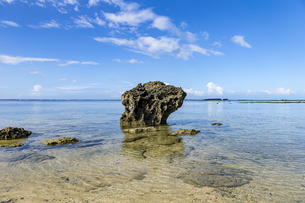 透き通った海と水平線が広がる星砂の浜の写真素材 [FYI04676912]