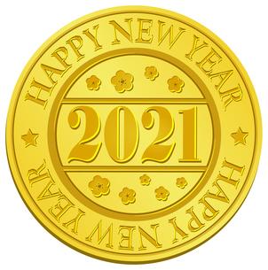 2021 年賀素材 / ゴールドメダル / プレゼント・ギフト・装飾素材 イラストのイラスト素材 [FYI04676955]