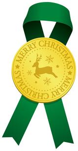 クリスマス素材/ ゴールドメダル & リボン デコレーション・装飾素材イラストのイラスト素材 [FYI04676957]