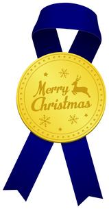 クリスマス素材/ ゴールドメダル & リボン デコレーション・装飾素材イラストのイラスト素材 [FYI04676960]