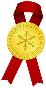 クリスマス素材/ ゴールドメダル & リボン デコレーション・装飾素材イラストのイラスト素材 [FYI04676963]