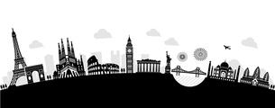 世界の有名な建築物・世界遺産・ランドマーク 横並び風景イラスト (アーチ型)のイラスト素材 [FYI04676971]