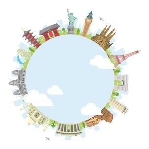 世界の有名な建築物(遺跡・建物・世界遺産)カラー円形バナー / 海外旅行 (中心部・水と雲)のイラスト素材 [FYI04676978]