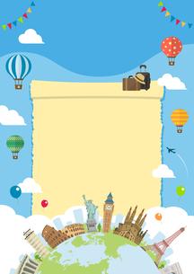 海外旅行・バカンス イメージイラスト (ポスター) / 世界の有名な建築物(建物・世界遺産のイラスト素材 [FYI04676992]