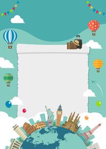 海外旅行・バカンス イメージイラスト (ポスター) / 世界の有名な建築物(建物・世界遺産のイラスト素材 [FYI04676994]