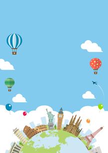 海外旅行・バカンス イメージイラスト (ポスター) / 世界の有名な建築物(建物・世界遺産)のイラスト素材 [FYI04676995]