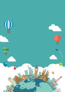 海外旅行・バカンス イメージイラスト (ポスター) / 世界の有名な建築物(建物・世界遺産)のイラスト素材 [FYI04676996]