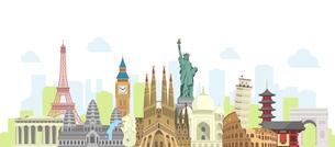 海外旅行・バカンス イメージバナー / 世界の有名な建築物(遺跡・建物・世界遺産)のイラスト素材 [FYI04676997]