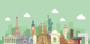 海外旅行・バカンス イメージバナー / 世界の有名な建築物(遺跡・建物・世界遺産)のイラスト素材 [FYI04676998]