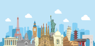 海外旅行・バカンス イメージバナー / 世界の有名な建築物(遺跡・建物・世界遺産)のイラスト素材 [FYI04677000]