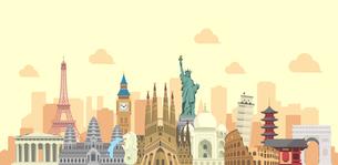 海外旅行・バカンス イメージバナー / 世界の有名な建築物(遺跡・建物・世界遺産)のイラスト素材 [FYI04677001]