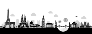 世界の有名な建築物・世界遺産・ランドマーク 横並び風景イラストのイラスト素材 [FYI04677005]