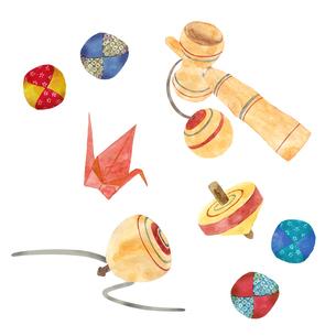 昔遊びの玩具セット 水彩イラストのイラスト素材 [FYI04677011]