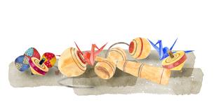 昔遊びの玩具セット 水彩画のイラスト素材 [FYI04677012]