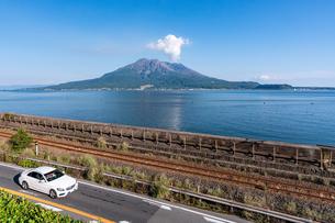 鹿児島県、仙厳園から望む桜島の写真素材 [FYI04677291]