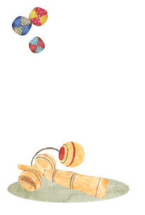けん玉とお手玉 水彩イラストのイラスト素材 [FYI04677663]