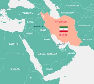 イランと中東・アラブ諸国 マップ・地図(英語)のイラスト素材 [FYI04677675]