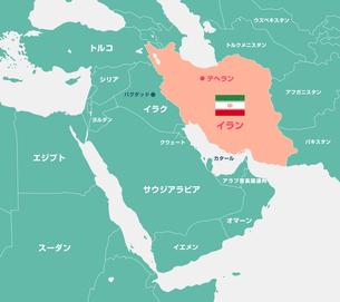 イランと中東・アラブ諸国 マップ・地図(日本語)のイラスト素材 [FYI04677679]