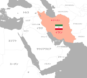 イランと中東・アラブ諸国 マップ・地図(日本語)のイラスト素材 [FYI04677680]