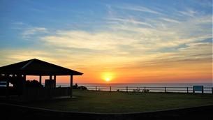 展望所の夕焼け風景の写真素材 [FYI04677995]