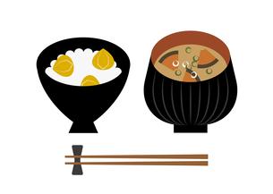 栗ご飯とかぼちゃの味噌汁のイラスト素材 [FYI04678364]
