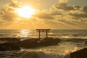 朝の大洗海岸と神磯の鳥居の写真素材 [FYI04678441]