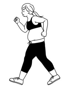 肥満の女性-ウォーキング-猫背-黒のイラスト素材 [FYI04678581]
