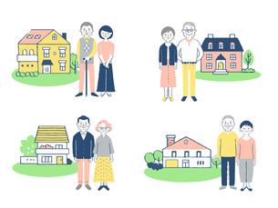 シニア夫婦と家 4組セットのイラスト素材 [FYI04678916]
