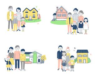 家族と家 4組セットのイラスト素材 [FYI04678919]