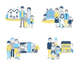 家族と家 4組セットのイラスト素材 [FYI04678920]