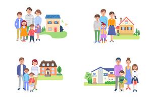 家族と家 4組セット のイラスト素材 [FYI04678921]