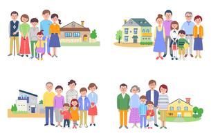 3世代家族と家 4組セット のイラスト素材 [FYI04678922]
