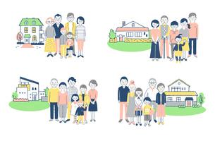 3世代家族と家 4組セット のイラスト素材 [FYI04678923]