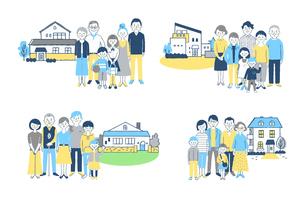 3世代家族と家 4組セットのイラスト素材 [FYI04678924]