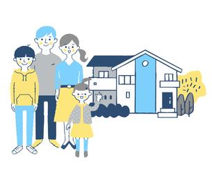 家族と家のイラスト素材 [FYI04678941]