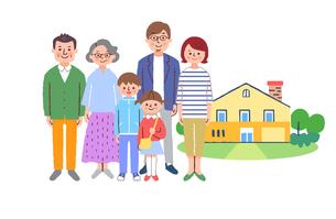 3世代家族と家のイラスト素材 [FYI04678960]