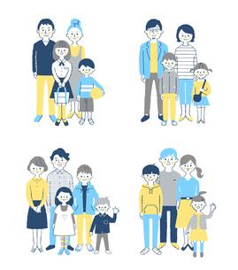 4組の家族 セットのイラスト素材 [FYI04678985]