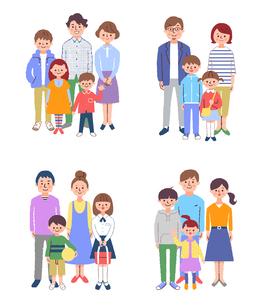 家族 集合 4組セットのイラスト素材 [FYI04678986]