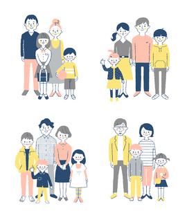 4組の家族 セットのイラスト素材 [FYI04678987]