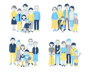 4組の3世代家族 セットのイラスト素材 [FYI04678988]