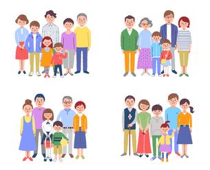 4組の3世代家族 セットのイラスト素材 [FYI04678989]