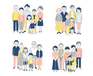 4組の3世代家族 セットのイラスト素材 [FYI04678990]