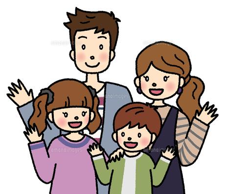 笑顔で手を振る4人家族のイラスト素材 [FYI04679465]