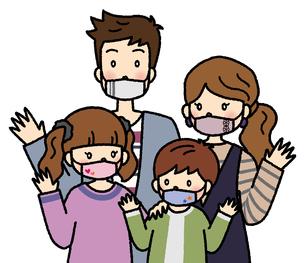 マスクをつけて手を振る4人家族(おしゃれマスク)のイラスト素材 [FYI04679466]