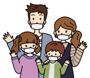 マスクをつけて手を振る4人家族(白マスク)のイラスト素材 [FYI04679467]
