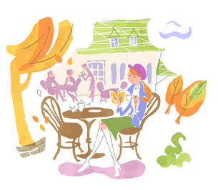 cafeで読書をする女性のイラスト素材 [FYI04679469]