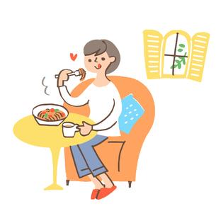 パスタを食べる女性のイラスト素材 [FYI04679486]