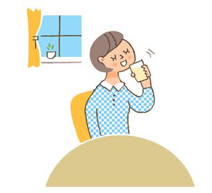 飲み物を飲む女性のイラスト素材 [FYI04679487]