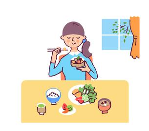 食事をする女性のイラスト素材 [FYI04679491]